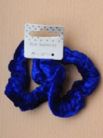Card of 2 Small Blue Velveteen fabric scrunchies (Code 2801)